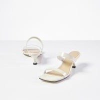 DEAR FRANCES Rain Sandal in Creme   patent double strap kitten heel mules   strappy square toe mules   summer sandals