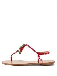 AQUAZZURA Patillita beaded leather sandals / fruit embellished footwear / strappy waltermelon flats