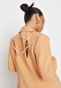 MISSGUIDED peach extreme shoulder cut out back blazer ~ double slit braid detail blazers