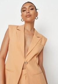 MISSGUIDED peach tailored longline sleeveless blazer ~ women's on trend summer blazers
