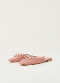 L.K. Bennett PENELOPE BARDON PINK SUEDE FLATS | flat bow embellished mules