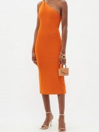 GALVAN Persephone orange one-shoulder knitted dress | bright and glamorous asymmetric-neckline occasion dresses | vibrant knits