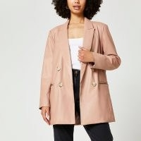 River Island Pink dad faux leather blazer – luxe style blazers