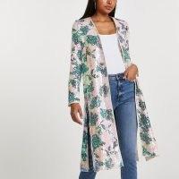 RIVER ISLAND Pink floral sequin duster ~ sequinned side slit coats