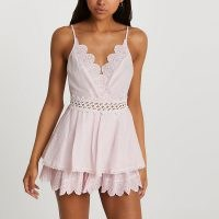 RIVER ISLAND Pink frill beach cover up playsuit RIVER ISLAND Pink frill beach cover up playsuit ~ skinny strap embroidered lace playsuits ~ embellished beachwear