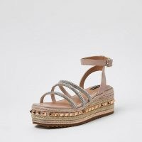 RIVER ISLAND Pink gem flatform sandals ~ strappy embellished flatforms