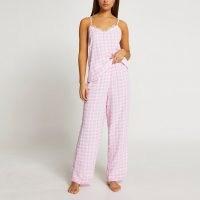 RIVER ISLAND Pink gingham pyjama cami set ~ camisole top pyjamas ~ strappy checked PJs