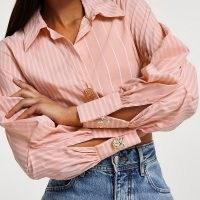 RIVER ISLAND Pink long sleeve elasticated waist shirt ~ button detail crop hem shirts