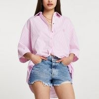 RIVER ISLAND Pink long sleeve oversized striped shirt ~ high low hem shirts