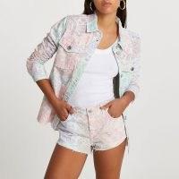 RIVER ISLAND Pink low rise paisley print hotpant shorts