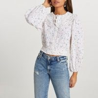 RIVER ISLAND Pink oversized collar floral printed blouse ~ romantic style blouses