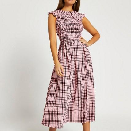 RIVER ISLAND Pink oversized collar gingham midi dress ~ sleevless check print dresses ~ shirred bodice
