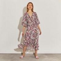RIVER ISLAND Pink printed ruffle midi dress / floaty floral dresses