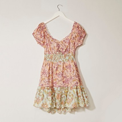 RIVER ISLAND Pink puff sleeve shirred mini dress / floral open tie back dresses - flipped