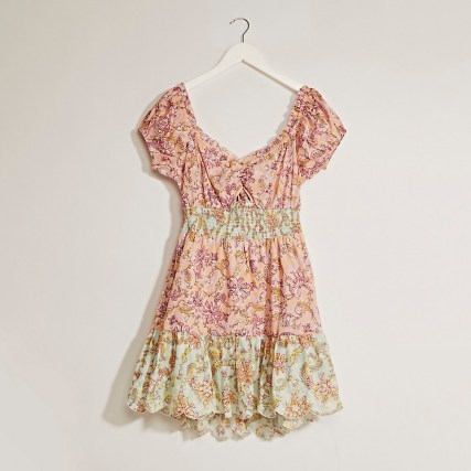 RIVER ISLAND Pink puff sleeve shirred mini dress / floral open tie back dresses