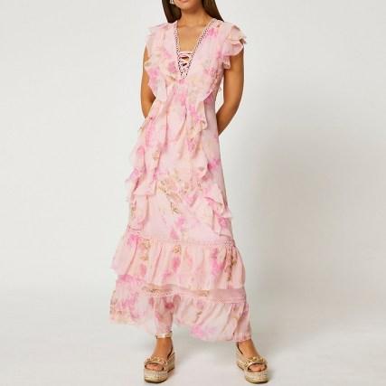RIVER ISLAND Pink ruffle cross front maxi dress ~ romantic ruffled dresses - flipped
