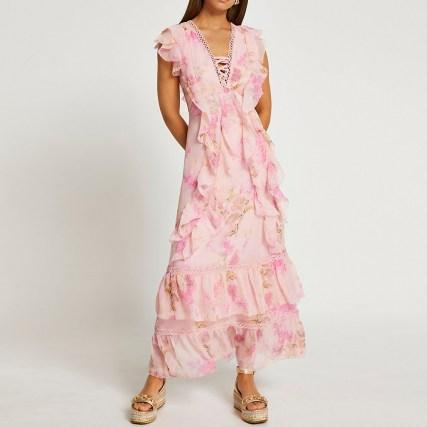 RIVER ISLAND Pink ruffle cross front maxi dress ~ romantic ruffled dresses