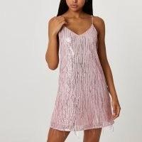 River Island Pink sequin tassel slip dress | shimmering skinny strap cami dresses