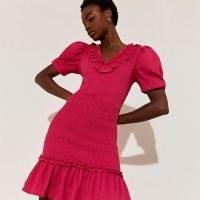 River Island Pink short sleeve frill dress – puff sleeve frilled hem dresses