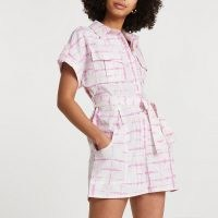 RIVER ISLAND Pink short sleeve tie dye utility playsuit | utilitarian style playsuits