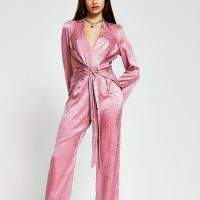 RIVER ISLAND Pink snake print tie waist front jumpsuit ~ going out glamour ~ glamorous evening jumpsuits