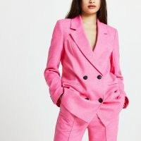 RIVER ISLAND Pink structured longline blazer ~ bright double breasted blazers