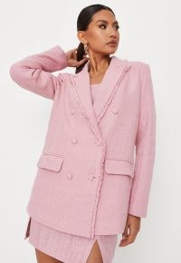 MISSGUIDED pink tailored boucle double breasted blazer ~ women's frayed edge textured fabric blazers