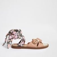 RIVER ISLAND Pink wide fit ankle tie sandals