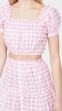 Playa Lucila Gingham Top Pink Check