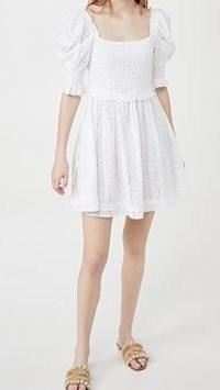 Playa Lucila Puff Sleeve Dress | white broiderie anglaise style dresses