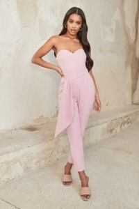 LAVISH ALICE pleated bandeau drape detail jumpsuit in lilac pink ~ strapless luxe style fitted jumpsuits