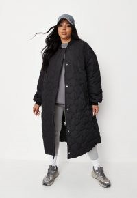 MISSGUIDED plus size black onion quilted longline bomber coat