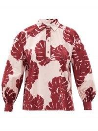 LA DOUBLEJ Poet Monstera-print cotton-poplin shirt   women's pink and red balloon sleeve leaf print shirts