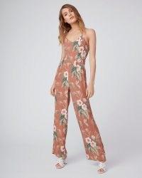 PAIGE Portland Jumpsuit Mocha Bisque ~ strappy floral jumpsuits