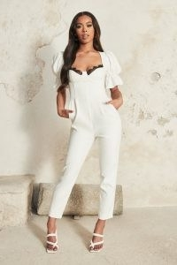 LAVISH ALICE puff sleeve corset jumpsuit with lace trim in white ~ jumpsuits for a glamorous evening look ~ going out glamour