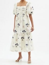 SELF-PORTRAIT Puff-sleeve floral-print crepe dress / romantic summer event wear / feminine ruched bodice occasion dresses