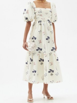 SELF-PORTRAIT Puff-sleeve floral-print crepe dress / romantic summer event wear / feminine ruched bodice occasion dresses - flipped