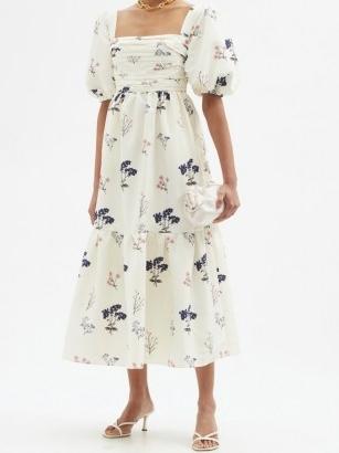 SELF-PORTRAIT Puff-sleeve floral-print crepe dress / romantic summer event wear / feminine ruched bodice occasion dresses