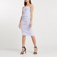 RIVER ISLAND Purple bandeau bodycon midi dress ~ fitted ruched party dresses