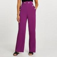 RIVER ISLAND Purple buttoned waistband wide leg trousers