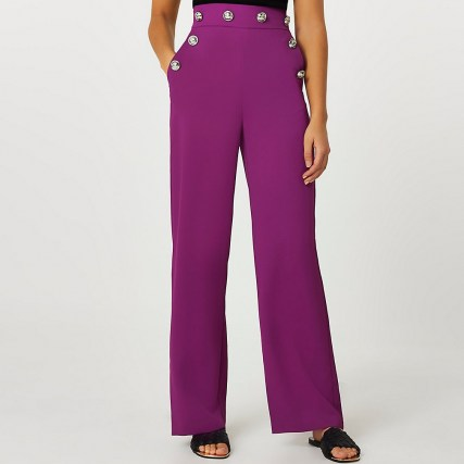 RIVER ISLAND Purple buttoned waistband wide leg trousers - flipped