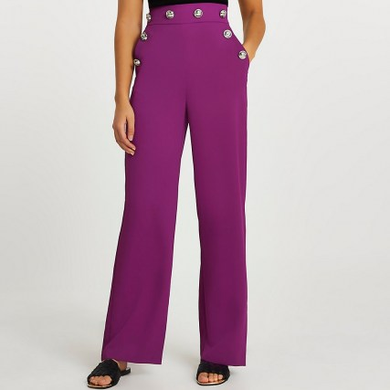 RIVER ISLAND Purple buttoned waistband wide leg trousers