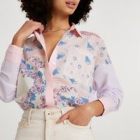 RIVER ISLAND Purple long sleeve floral oversized shirt / mixed print shirts