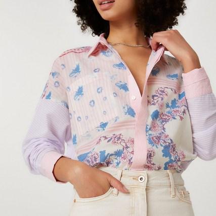 RIVER ISLAND Purple long sleeve floral oversized shirt / mixed print shirts - flipped