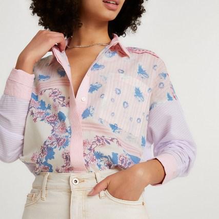 RIVER ISLAND Purple long sleeve floral oversized shirt / mixed print shirts