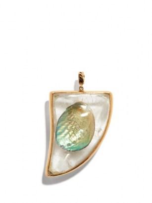 DEZSO Quartz, shell & 18kt rose-gold shark fin charm / ocean inspired pendants - flipped