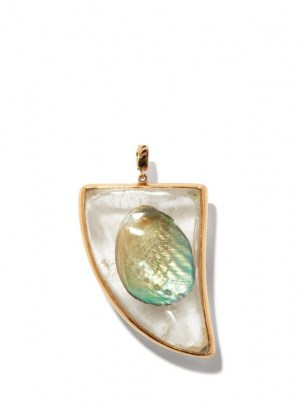DEZSO Quartz, shell & 18kt rose-gold shark fin charm / ocean inspired pendants