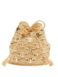 PACO RABANNE Raffia cross-body bucket bag | woven vintage style summer bags