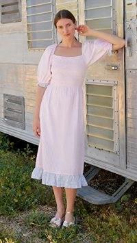 Rahi Alessa Midi Dress Pink/Blue Gingham ~ summer prairie style dresses