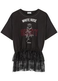 RED VALENTINO Black printed lace-trimmed cotton T-shirt | lace peplum tee